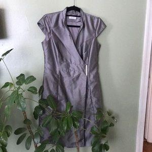 Calvin Klein silver lined wrap dress size 10  p3